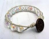 Bohemian Leather Wrap Bracelet, Creamy White with Crystal Czech Beads