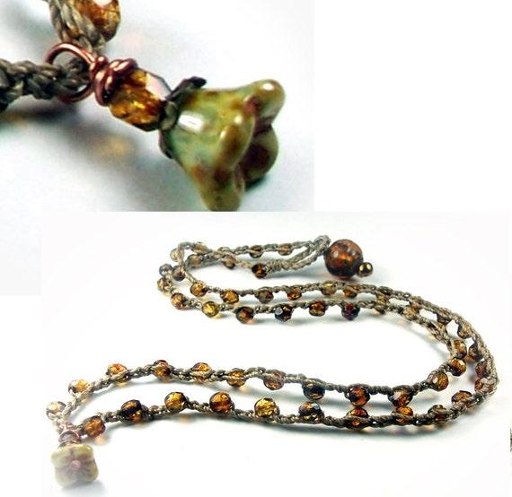 Bohemian Crochet Wrap Bracelet or Necklace - triple wrap - earthy amber shades - dainty