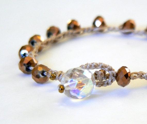 Metallic Copper Boho Crochet Bracelet, Boho Glam