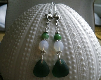 English Sea Glass Earrings - Green Glass / Milky White Czech Crystals / Green Murano beads / Reclaimed Vintage Silver Dolphin Elements