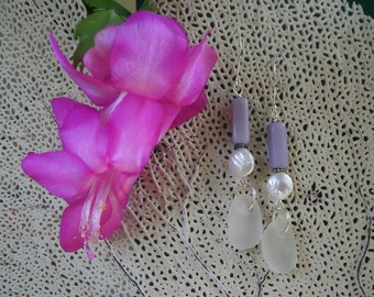 English Sea Glass Earrings - Clear Glass / White Coin Pearls / Lavender Milk Glass Beads