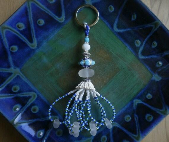 Beachcomber Keychain - English Sea Glass & Barbados Keyhole Limpet  - Baby Blue / Dark Blue / Lime