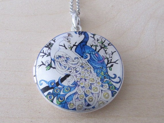 Peacocks couple on a branch - Silver plated photo Locket Necklace, pendant necklace