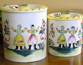 Handpainted Rustic Ceramic Tea and Coffee Canister set