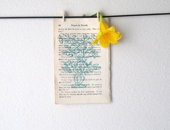 Twisted Tree Ink Sketch on Vintage Book Page
