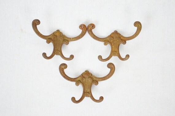 Vintage Cast Iron Wall Hooks - Set of Three
