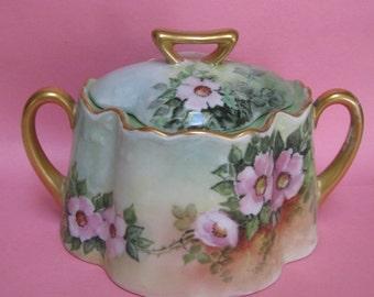Vintage porcelain candy, tea, sugar bowl with lid. Soft pastel colors.  SALE