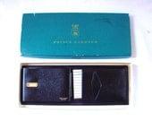1950s Mens Black Leather  Bifold Wallet // Vintage Prince Gardner Men's Black Leather Wallet