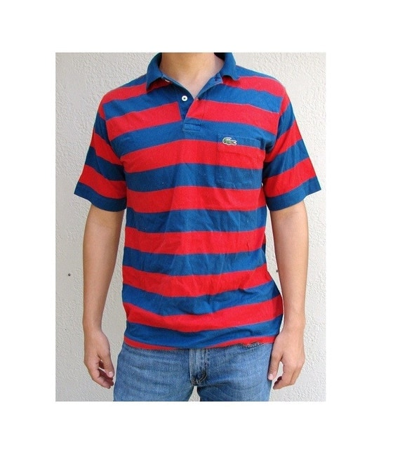 Vintage izod lacoste red blue stripe rugby polo by for Lacoste mardi gras rugby shirt