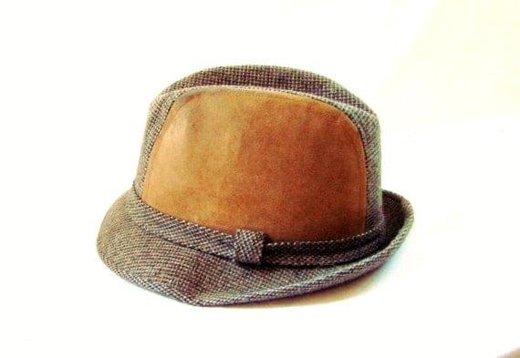Tweed Fedora / vintage Two Tone Suede Mad Men Tweed Fedora Hat