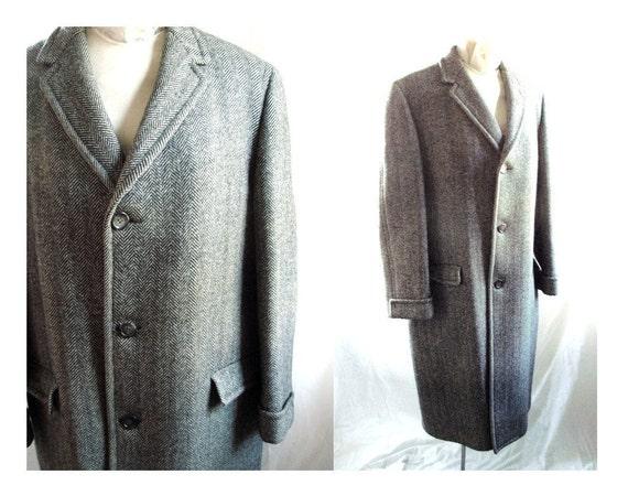 Mens 70s Winter Black Tweed WOOL Coat /  Black Tweed Wool OverCoat / Medium to Large size 46