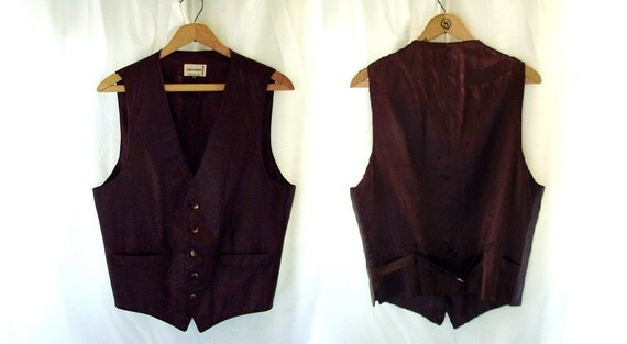 vintage Brown Leather Vest size 40