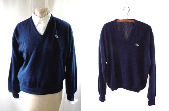 Navy Blue Pullover LaCoste Sweater / Mens vintage 1980s Blue LaCoste Alligator v neck Pullover Knit Sweater
