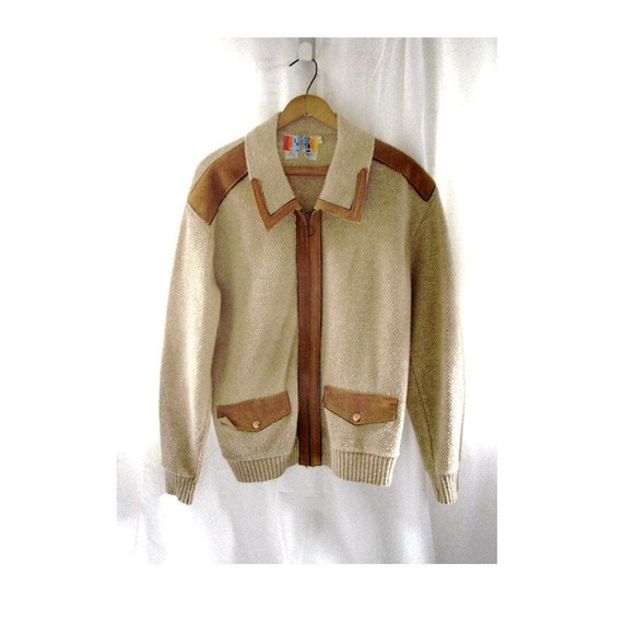 1970's MENS Cardigan / Vintage Two Tone Suede Knit Sweater
