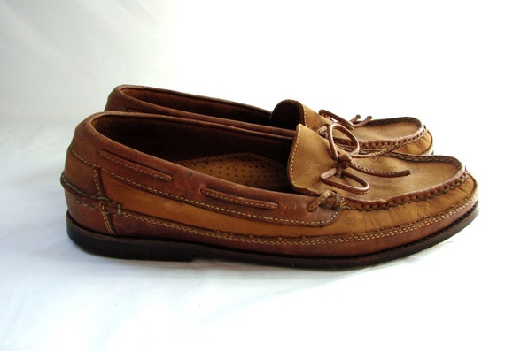 Leather Top Sider Mens shoes // vintage Cole Haan Tan Top Siders Casual slip on  Boat shoes 8
