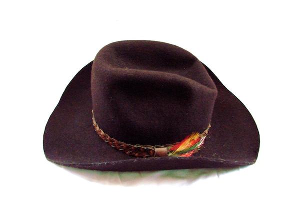 Brown Cowboy Hat /  vintage 1970s Brown Cowboy Western Hat