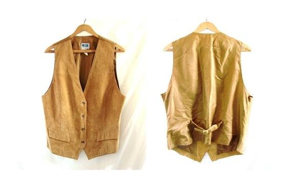 Leather Vest / vintage 80s tan Leather Vest /extra large