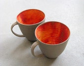 2x Latte Cups - With ears - Stone and Colors - wheel thrown - Cool grey stoneware - Fire  - MADE TO ORDER