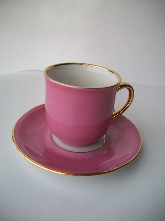 Tea Cup and Saucer Pink From Bavaria, Germany