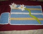 Set of 4 Placemats, Coasters, Napkin Ring, Plus Hot Pad Crocheted