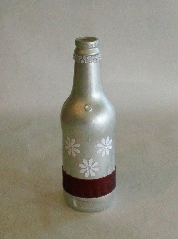 Silver and Maroon Flower Soda Bottle Vase