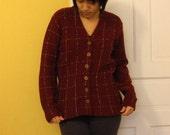 RESERVED FOR ASHLEY- Vintage Sandra Craig Creation Maroon Sweater Cardigan