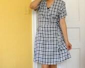 SALE- Vintage Sostanza Checkered Wrap Dress
