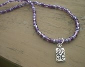 Lilac Blossoms Beaded Necklace with Floating Lotus Flower Pendant