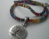 Rainbow Dyed Shell Beaded Necklace with Tree of Life Pendant