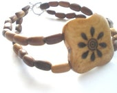 Flower Carved Wood Bead Double Strand Bracelet