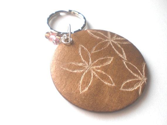 Flowers Engraved Wood Keychain with Swarvski Crystals OOAK