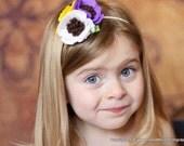 Picking Purple Poppies- Purple, Yellow and White Poppy Wool Felt Headband