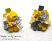 Mustard Yellow, Grey and White Hydrangea Clip- Your choice of 1 Clip- Non Slip Grip