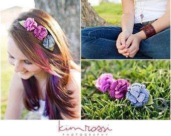 Wool Felt Carnation Headband in Dark Pinks and Grey- Ready to Ship