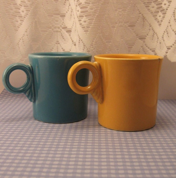 Fiesta Tom and Jerry Mugs Turquoise and Yellow