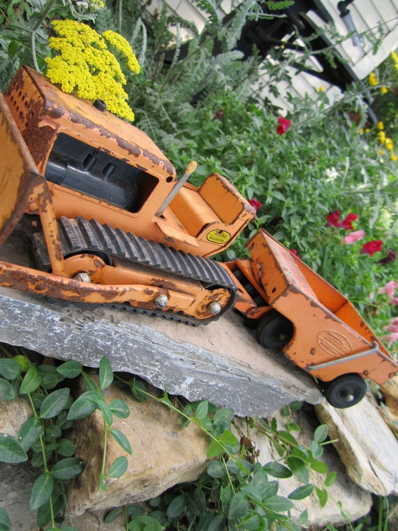 Pressed Steel Tonka Bulldozer and Spreader from 1960s
