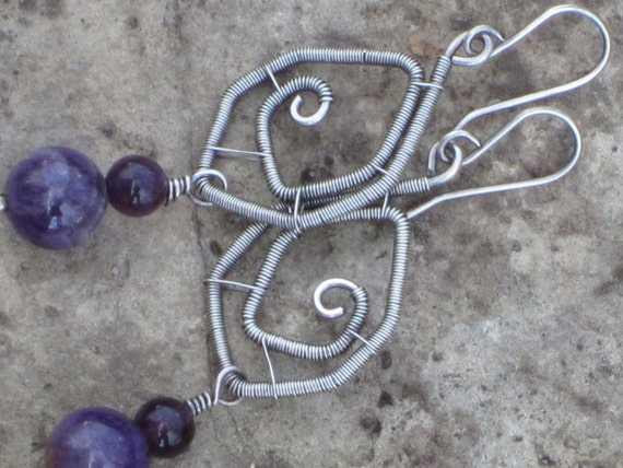 St. Patrick Day Day Sale 20% off / Wire Wrapped Sterling Silver Earrings with Amethyst