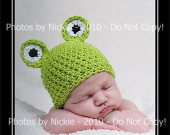 PDF CROCHET PATTERN Instant Download Froggy Baby Beanie Photo Prop Hat 6 Sizes Preemie Through 5 Years Sell What You Make