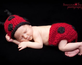 PDF Crochet Pattern Instant Download Little Ladybug Newborn Beanie And Diaper Cover Set Photo Prop Sell What You Make