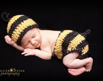PDF CROCHET PATTERN Instant Download Baby Bumblebee Newborn Hat And Diaper Cover Photo Prop Set Sell What You Make