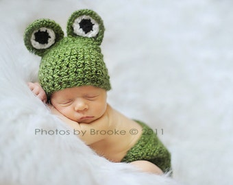 PDF Crochet PATTERN Newborn Froggy Beanie Hat And Diaper Cover Set Sell What You Make