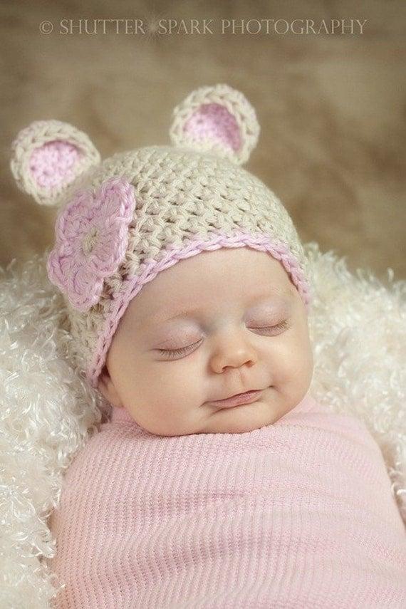 Pdf Crochet Pattern Download Sugar Bear Hat Sizes Preemie