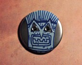 "Tiki Terror in Silver - 2.25"" pinback button"