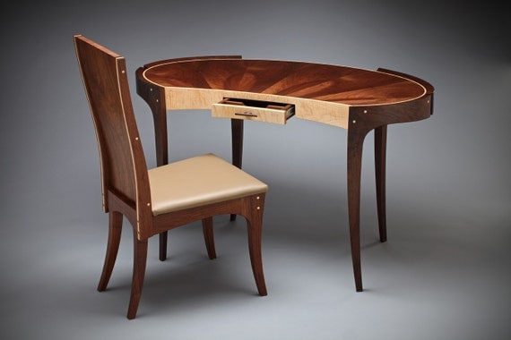 Writing Desk and Chair crafted out of Walnut, Walnut veneer & Tiger Maple