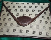 Vintage  PIERRE CARDIN Large Leather and canvas LOGO Envelope Clutch Purse Handbag