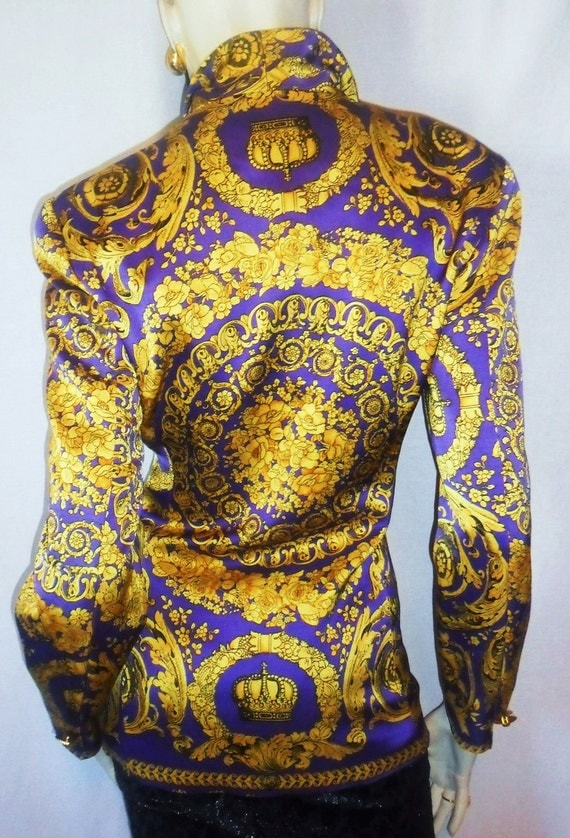 Bold Outlanddish Baroque Versace Style Print Coat Jacket Regal