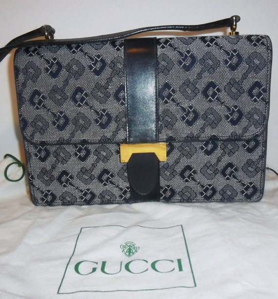 Older VINTAGE Authentic  GUCCI RARE Horsebit Monogram  Canvas and Navy Leather  Handbag Purse