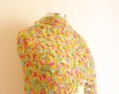 Reserved [ Maria Vittoria Apicella ] CROCHET Rainbow Shawl Multicolor   wedding,bride, gift