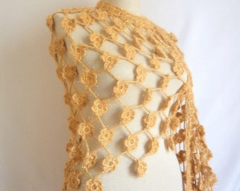 Shawl capulus lacte Caramel Daisy Pansy Flower Shawl (orginal shiny  rope) floral flower crochet mother caramel yellow warm wrap collar cowl