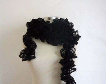 Black Scarf,shawl,stole,woman,gift,handmade,crcohet,new,winter,chic,victorian,bohem,pom,collar,cowl,warm,wrap,style,